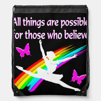 AWESOME ALL THINGS ARE POSSIBLE BALLERINA DESIGN DRAWSTRING BAGS