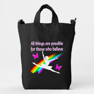 AWESOME ALL THINGS ARE POSSIBLE BALLERINA DESIGN DUCK CANVAS BAG