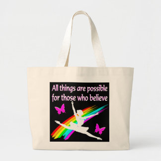 AWESOME ALL THINGS ARE POSSIBLE BALLERINA DESIGN JUMBO TOTE BAG