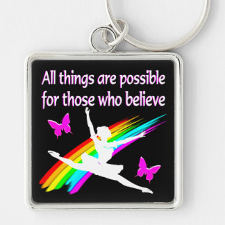 AWESOME ALL THINGS ARE POSSIBLE BALLERINA DESIGN KEYCHAIN