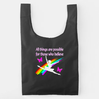 AWESOME ALL THINGS ARE POSSIBLE BALLERINA DESIGN REUSABLE BAG