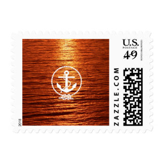 Awesome Anchor rope Streak Light Sunset Calm sea Postage