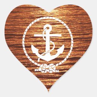 Awesome Anchor Streak Light Sunset Calm sea Heart Sticker