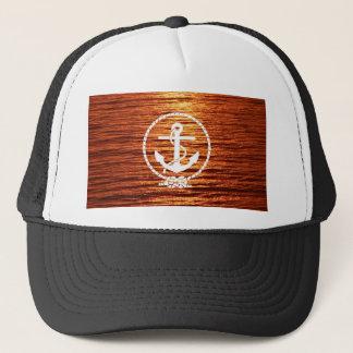 Awesome Anchor Streak Light Sunset Calm sea Trucker Hat