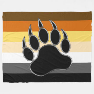 Awesome and Very Cool Bear Pride Flag Bear Paw Fleece Blanket