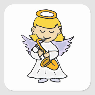 Awesome Angel Playing the Saxophone Art Square Sticker