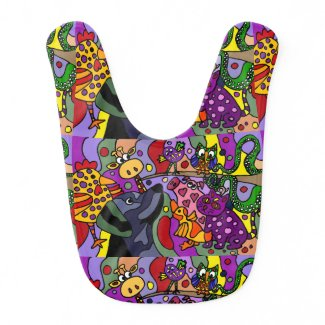 Awesome Animals Abstract Art Bib