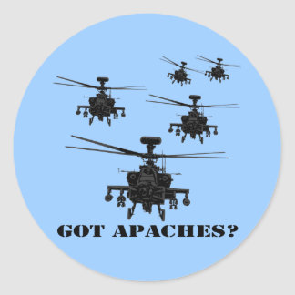 Awesome Apache helicopter Classic Round Sticker