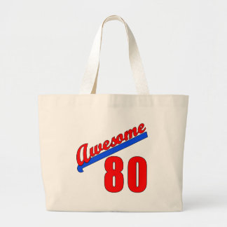 Awesome at 80 Years Old 80th Birthday Large Tote Bag