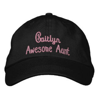 AWESOME AUNT Custom Name BLACK and PINK A10 Cap