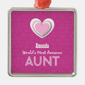 Awesome AUNT Pastel Hot Pink Mosaic and Star F01 Metal Ornament