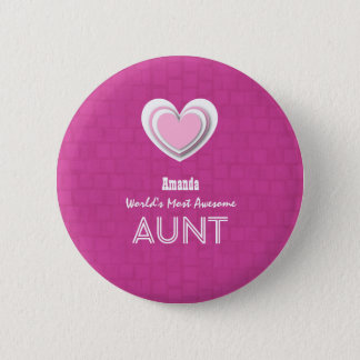 Awesome AUNT Pastel Hot Pink Mosaic and Star F01 Pinback Button
