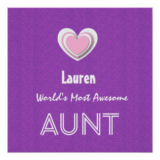 Awesome AUNT Purple Mosaic and Pink Heart F01Z Poster