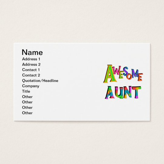 Awesome Aunt T-shirts and Gifts Business Card
