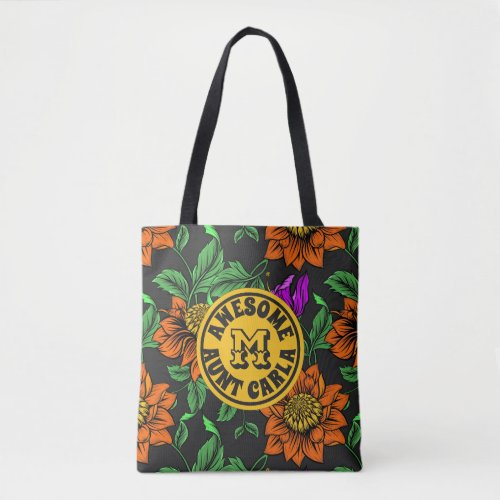 Awesome Aunt Your Name Floral Monogram Botanical Tote Bag