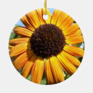 Awesome Autumn Beauty Sunflower in the Round Christmas Ornament