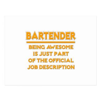 Awesome Bartender .. Official Job Description Postcard