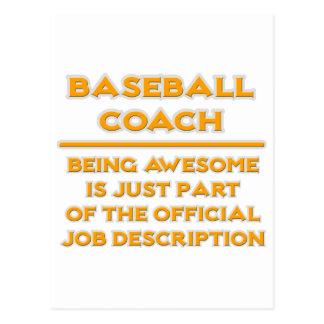 Awesome Baseball Coach .. Job Description Postcard