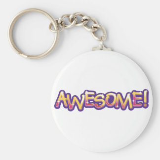 Awesome! Basic Round Button Keychain