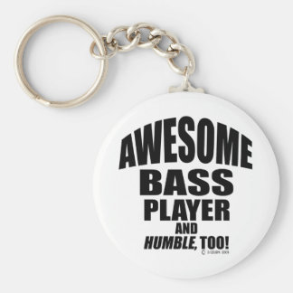 Awesome Bass Player Basic Round Button Keychain