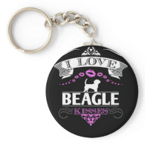 Awesome Beagle Design I Love Beagle Kisses Pink Keychain