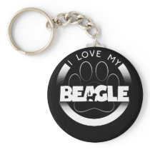 Awesome Beagle Design I Love My Beagle Circle Paw Keychain