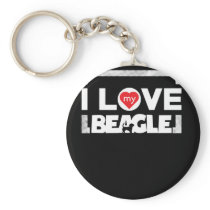 Awesome Beagle Design I Love My Beagle Frame Dots Keychain