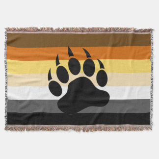 Awesome Bear Paw on Bear Pride Flag Throw