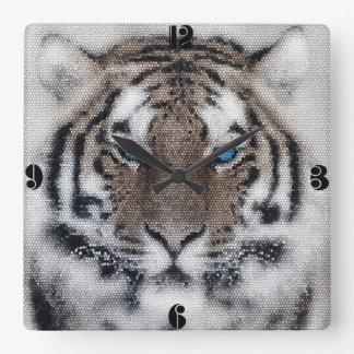 Awesome beautiful tiger blue eyes stained glass square wall clock