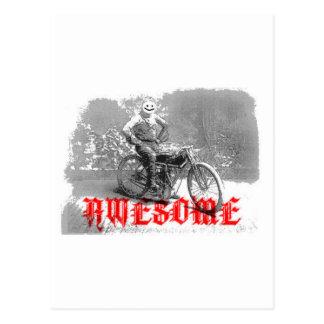 Awesome biker smile face postcard
