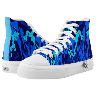 AWESOME BLACK AND BLUE CAMO HI TOP SNEAKERS PRINTED SHOES