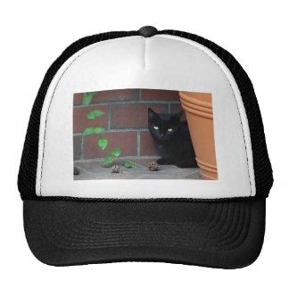 Awesome Black Cat behind Flower Pot Trucker Hat
