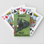 """Awesome Black German Shepherd Playing Cards<br><div class=""""desc"""">Playing Cards with a pic of a Black German Shepherd</div>"""