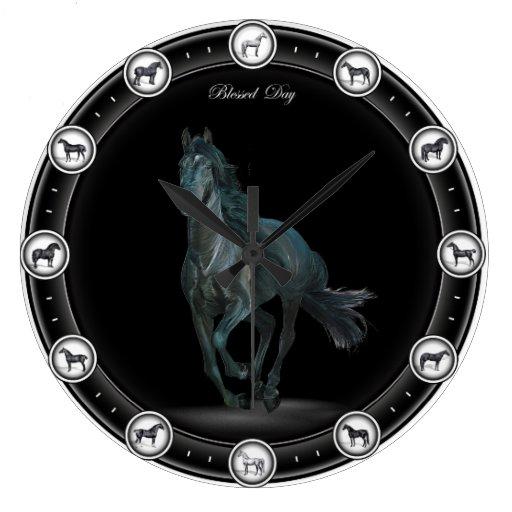 Awesome Black Horse Clocks Zazzle