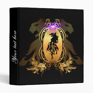 Awesome black lion tattoo on a golden shield binder
