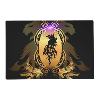 Awesome black lion tattoo on a golden shield placemat