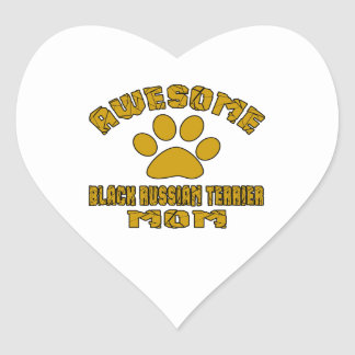 AWESOME BLACK RUSSIAN TERRIER MOM HEART STICKER