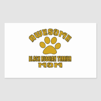 AWESOME BLACK RUSSIAN TERRIER MOM RECTANGULAR STICKER