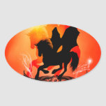 Awesome black unicorn tattoo on red, oval sticker