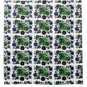 Awesome Blue And Green Hippo Shower Curtain