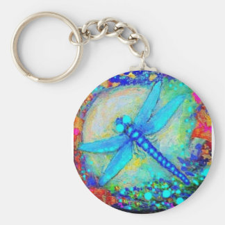 Awesome Blue Dragonfly by Sharles Basic Round Button Keychain