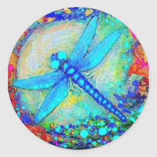 Awesome Blue Dragonfly by Sharles Classic Round Sticker