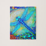 """Awesome Blue Dragonfly by Sharles Jigsaw Puzzle<br><div class=""""desc"""">Beautiful glowing blue dragonfly sailing over blue waters and sunlight.</div>"""