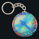 "Awesome Blue Dragonfly by Sharles Keychain<br><div class=""desc"">Beautiful glowing blue dragonfly sailing over blue waters and sunlight.</div>"