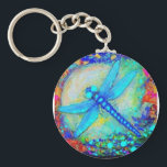 """Awesome Blue Dragonfly by Sharles Keychain<br><div class=""""desc"""">Beautiful glowing blue dragonfly sailing over blue waters and sunlight.</div>"""