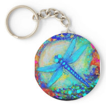 Awesome Blue Dragonfly by Sharles Keychain