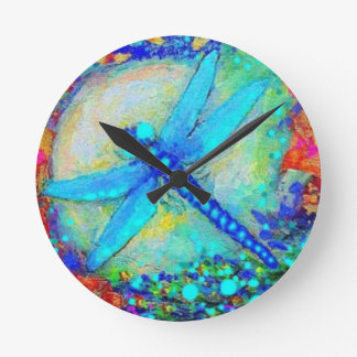 Awesome Blue Dragonfly by Sharles Round Clock