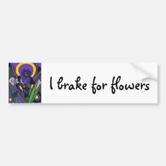 Awesome Blue Iris Floral Abstract Art Car Bumper Sticker