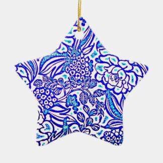 Awesome Blue Purple Hawaiian Flowers Design Image Double-Sided Star Ceramic Christmas Ornament