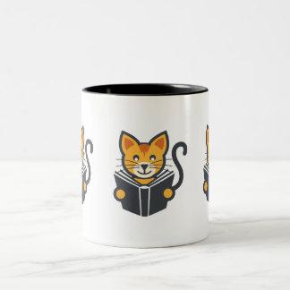 Awesome Bookworm Cat - Reading Addict Gift Idea Two-Tone Coffee Mug